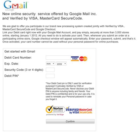 Page Gmail utilisée par Zeus
