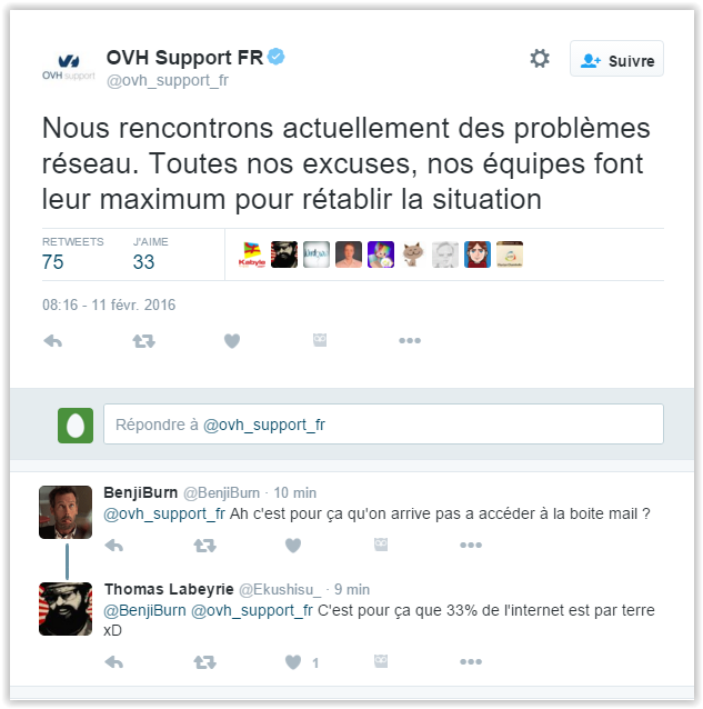 Tweet du support OVH