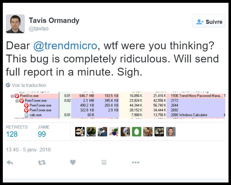 Tweet Tavis Ormandy (Google)