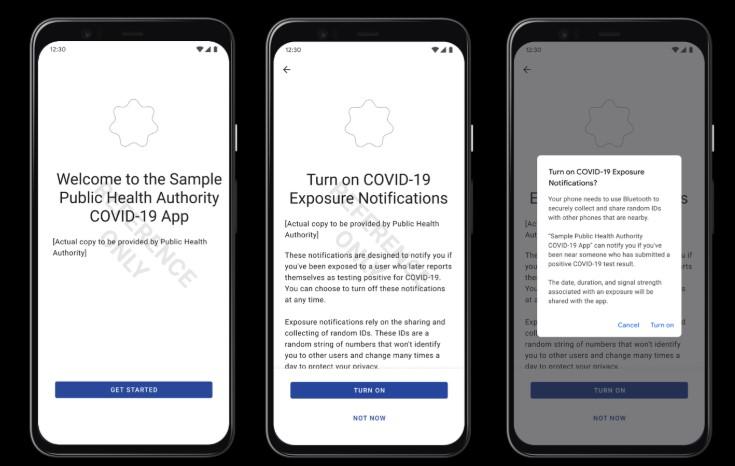 Ecran d'accueil application Covid pour Android