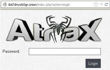 Page d'accueil du botnet Atrax