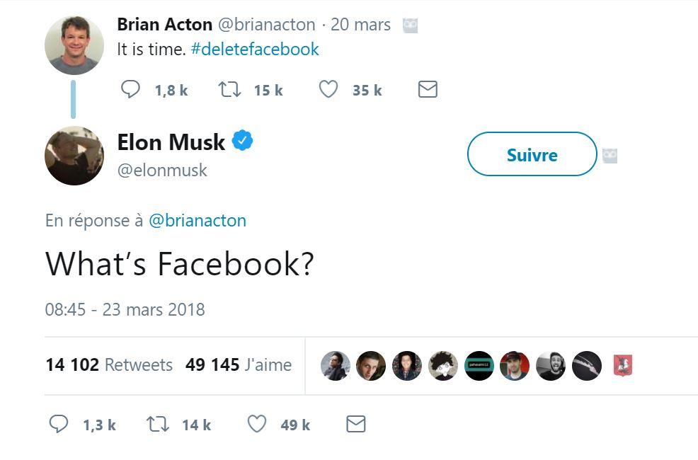 Elon Musk efface Facebook