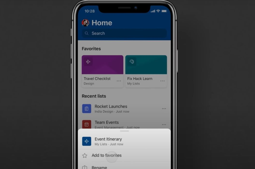 Application mobile Microsoft Lists