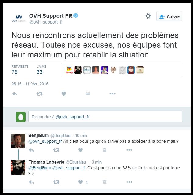 Tweet du support OVH