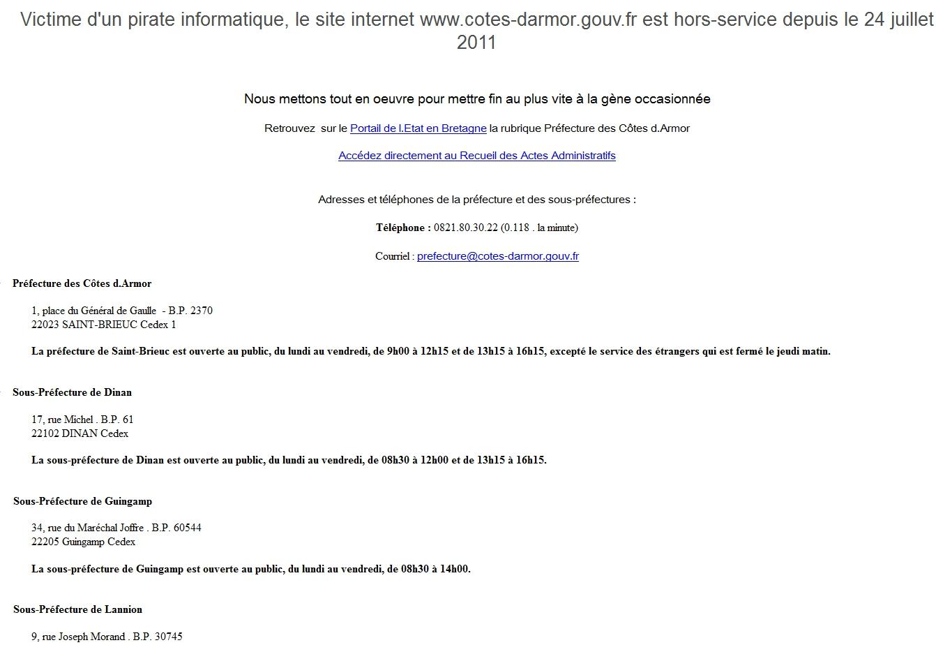Page d'accueil de la préfecture des Côtes d'Armor
