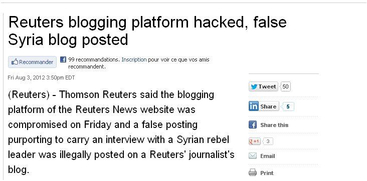 La plateforme de blogging de Reuters a été piratée