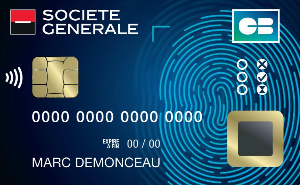 Société générale carte bancaire biométrique