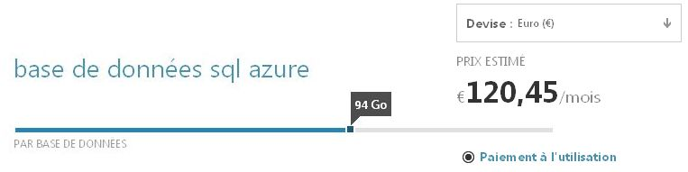 Calculatrice pour conna�tre le co�t de SQL Azure au Go consomm�