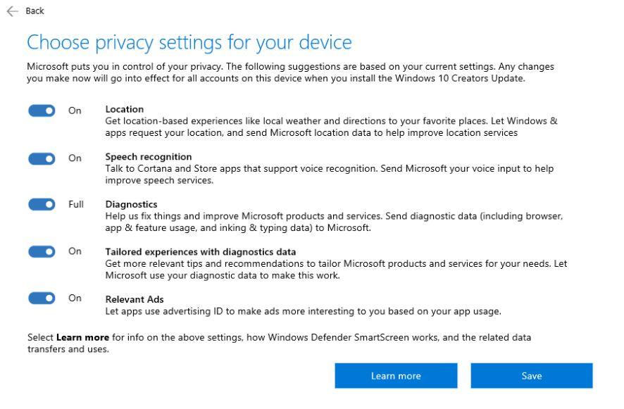Gestion vie privée Windows 10 Creators Update
