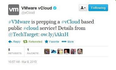 VMware tweet par erreur son offre de cloud public